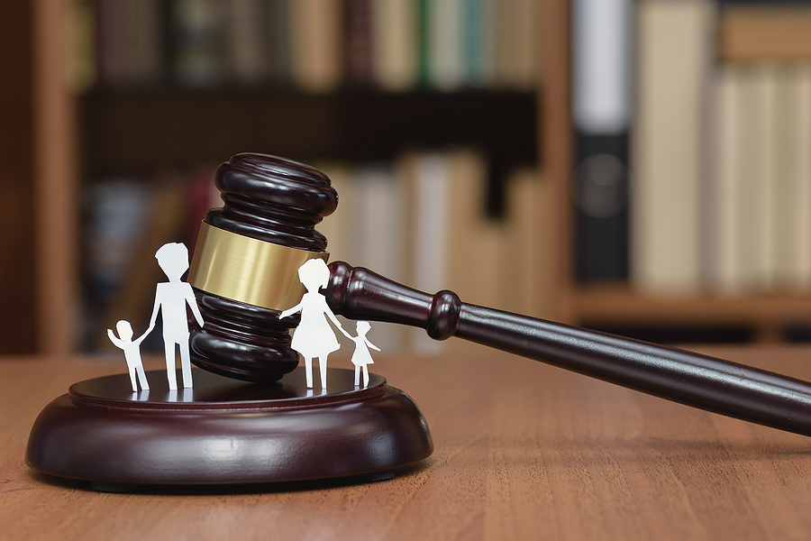 Family and a gavel, family law concept